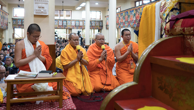 Thai monks reciting the Mangala Sutta in Pali at the start of His Holiness the Dalai Lama's teaching at the Tsuglagkang in Dharamsala, HP, India on August 29, 2017. Photo by Tenzin Choejor/OHHDL
