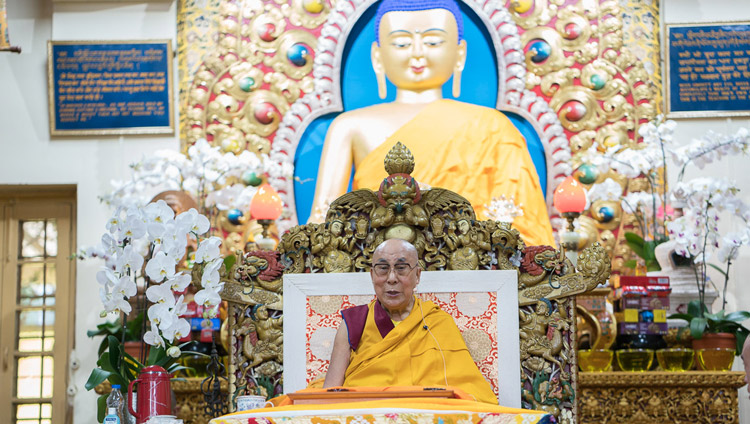 His Holiness the Dalai Lama addressing the crowd during the first day of his four day teaching at the Tsuglagkang in Dharamsala, HP, India on August 29, 2017. Photo by Tenzin Phuntsok/OHHDL