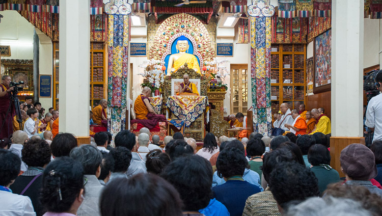 His Holiness the Dalai Lama on the second day of his teachings for SE Asians at the Tsuglagkhang in Dharamsala, HP, India on August 30, 2017. PHoto by Tenzin Phuntsok/OHHDL