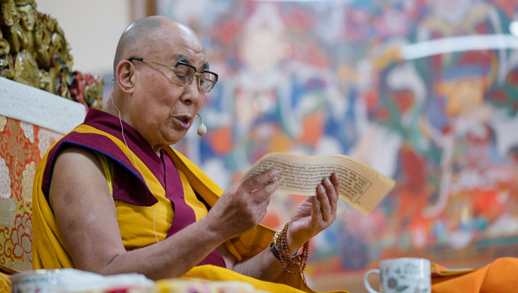His Holiness the Dalai Lama reading from the text on the second day of his four day teaching for SE Asians at the Tsuglagkhang in Dharamsala, HP, India on August 30, 2017. PHoto by Ven Lobsang Kunga/OHHDL