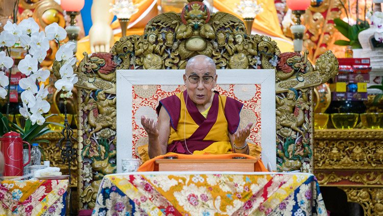 His Holiness the Dalai Lama's speaking on the third day of teachings at the Tsuglagkhang in Dharamsala, HP, India on August 31, 2017. Photo by Tenzin Phutsok/OHHDL
