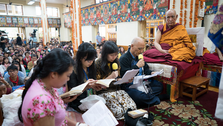 "A group of laypeople reciting the ""Heart Sutra"" in Indonesian at the start of the final day of His Holiness the Dalai Lama's teaching for SE Asians at the Tsuglagkhang in Dharamsala, HP, India on September 1, 2017. Photo by Tenzin Choejor/OHHDL"