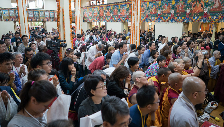 Members of the audience listening to His Holiness the Dalai Lama on the final day of his teaching for SE Asians at the Tsuglagkhang in Dharamsala, HP, India on September 1, 2017. Photo by Tenzin Choejor/OHHDL