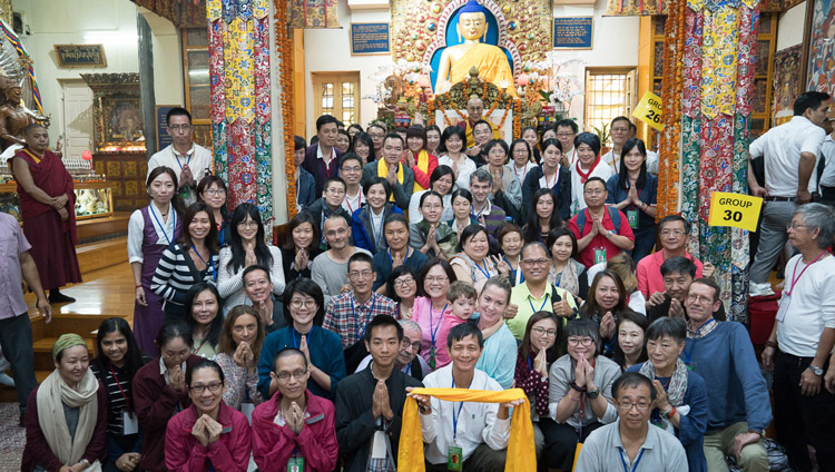 One of the many groups from SE Asia posing for a group photo with His Holiness the Dalai lama at the conclusion of his teaching at the Tsuglagkhang in Dharamsala, HP, India on September 1, 2017. Photo by Tenzin Choejor/OHHDL