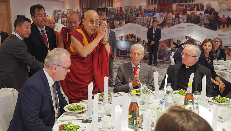 His Holiness the Dalai Lama greeting members and supporters of Children in Crossfire at a luncheon in Derry, Northern Ireland, UK on September 10, 2017. Photo by Jeremy Russell/OHHDL