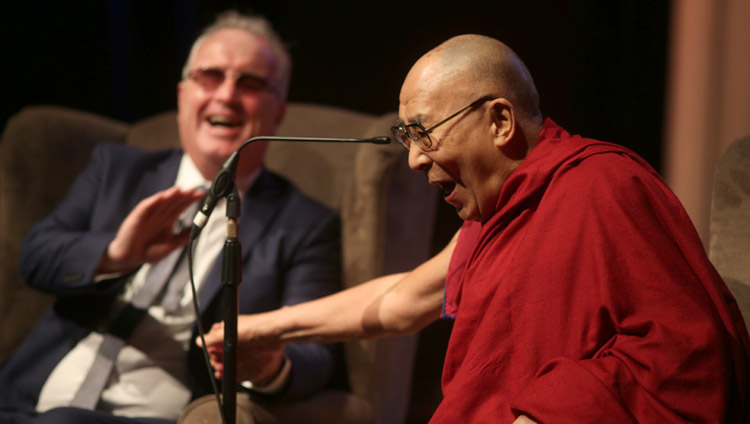 His Holiness the Dalai Lama enjoying a moment of laughter with Richard Moore during his talk at the Millennial Forum in Derry, Northern Ireland, UK on September 10, 2017. Photo by Lorcan Doherty