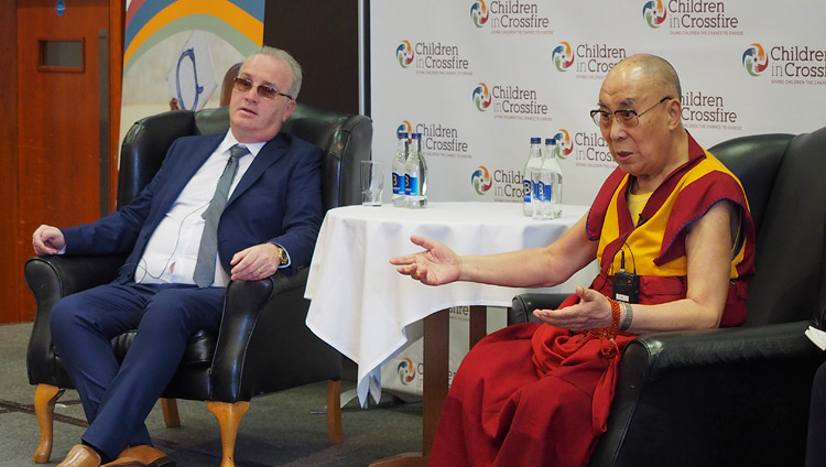 His Holiness the Dalai Lama speaking to members of the press in Derry, Northern Ireland, UK on September 11, 2017. Photo by Jeremy Russell/OHHDL