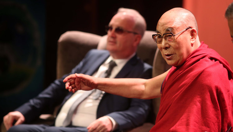 His Holiness the Dalai Lama speaking at the conference on Educating the Heart at the Millennium Forum in Derry, Northern Ireland, UK on September 11, 2017. Photo by Lorcan Doherty