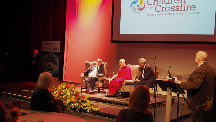 A view of the stage at the Millennium Forum during the conference on Educating the Heart organized by Children in Crossfire in Derry, Northern Ireland, UK on September 11, 2017. Photo by Jeremy Russell/OHHDL