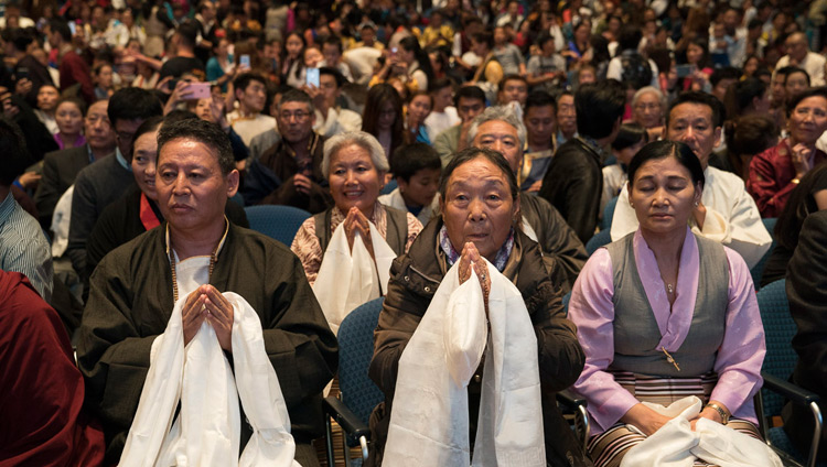 Some of the over 1500 members of the Tibetan community listening to His Holiness the Dalai Lama during their meeting at the Jahrhunderthalle in Frankfurt, Germany on September 13, 2017. Photo by Tenzin Choejor