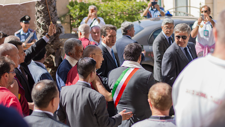 His Holiness the Dalai Lama heading for his car at the conclusion of his talk at the Greek Theatre in Taormina, Sicily, Italy on September 16, 2017. Photo by Federico Vinci/Città Metropolitana di Messina
