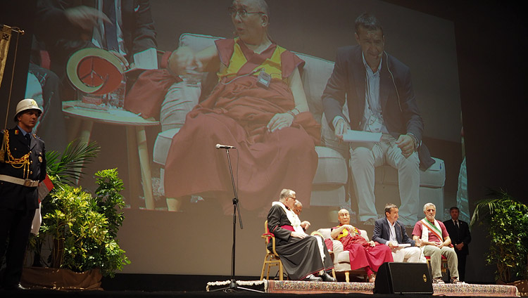 His Holiness the Dalai Lama speaking at the Vittorio Emanuele Theatre in Messina, Sicily, Italy on September 17, 2017. Photo by Jeremy Russell