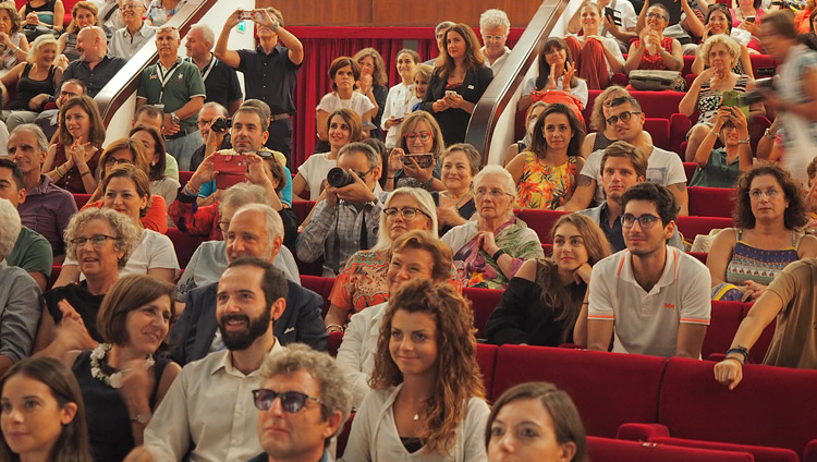 Members of the 1200 strong audience listening to His Holiness the Dalai Lama at the Vittorio Emanuele Theatre in Messina, Sicily, Italy on September 17, 2017. Photo by Jeremy Russell