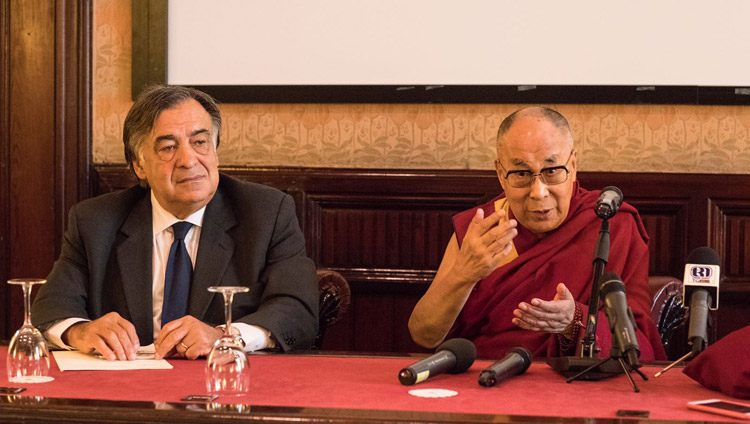 Mayor of Palermo, Prof Lealuca Orlando looks on as His Holiness the Dalai Lama speaks to members of the media in Palermo, Sicily, Italy on September 18, 2017. Photo by Paolo Regis