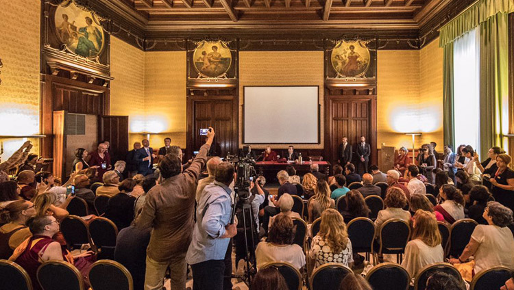 His Holiness the Dalai Lama meeting with members of the media in Palermo, Sicily, Italy on September 18, 2017. Photo by Paolo Regis