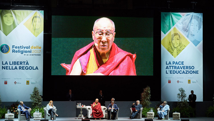 His Holiness the Dalai Lama speaking at the inter-religious meeting in Florence, Italy on September 19, 2017. Photo by Olivier Adam