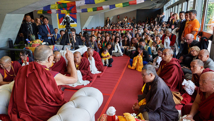 His Holiness the Dalai Lama meeting with 150 members of the Tibetan community during the lunch break between programs at the Mandela Forum in Florence, Italy on September 19, 2017. Photo by Olivier Adam