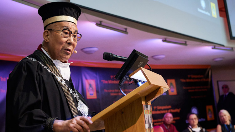 His Holiness the Dalai Lama delivering his lecture during the ceremony to award him the Master's Degree Honoris Causa in Clinical and Health Psychology at the University of Pisa in Pisa, Italy on September 21, 2017. Photo by Olivier Adam