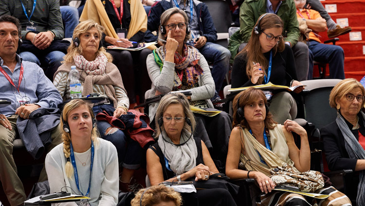 Members of the audience listening to the presentations during the second session of the MindScience Symposium at the University of Pisa in Pisa, Italy on September 21, 2017. Photo by Olivier Adam