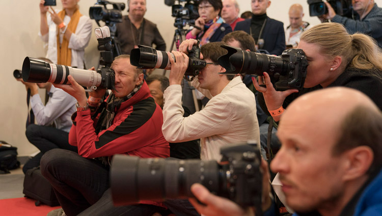 Photographers taking pictures of His Holiness the Dalai Lama during his meeting with members of the media in Riga, Latvia on September 23, 2017. Photo by Tenzin Choejor