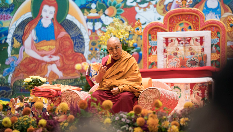 His Holiness the Dalai Lama speaking on the first day of his teachings in Riga, Latvia on September 23, 2017. Photo by Tenzin Choejor