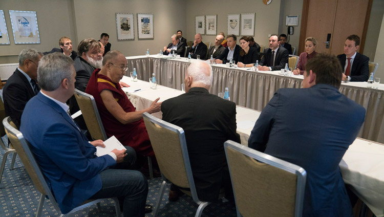 His Holiness the Dalai Lama meeting with parliamentarians from the Baltic States in Riga, Latvia on September 24, 2017. Photo by Tenzin Choejor