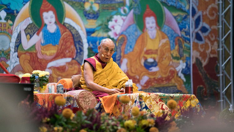 His Holiness the Dalai Lama speaking on the second day of his teachings at Skonto Hall in Riga, Latvia on September 24, 2017. Photo by Tenzin Choejor