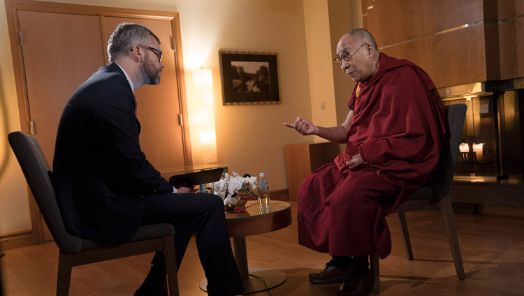 His Holiness the Dalai Lama giving an interview to Gundars Reders of Latvian Television in Riga, Latvia on September 25, 2017. Photo by Tenzin Choejor