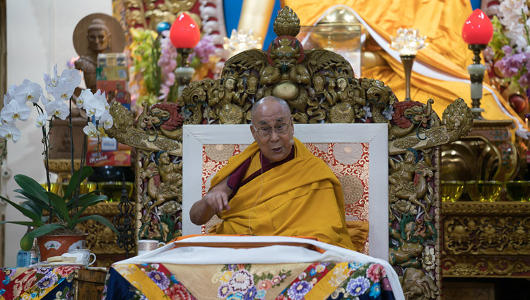 His Holiness the Dalai Lama speaking on the first day of his teachings at the Tsuglagkhang in Dharamsala, HP, India on October 3, 2017. Photo by Tenzin Choejor