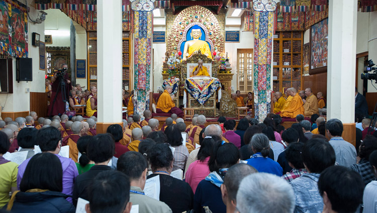 A view inside the Tsuglagkhang on the first day of His Holiness the Dalai Lama's teaching requested by Taiwanese Buddhists in Dharamsala, HP, India on October 3, 2017. Photo by Tenzin Phuntsok