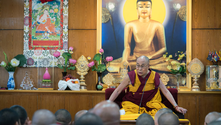 His Holiness the Dalai Lama speaking to members of the Tibetan Nuns Project, supporters and nuns during their meeting at his residence in Dharamsala, HP, India on October 4, 2017. Photo by Tenzin Choejor