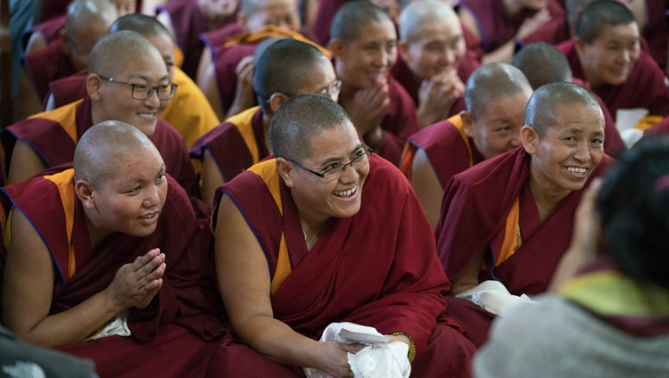 Most of the 20 nuns who became Geshe-mas last winter during their meeting with His Holiness the Dalai Lama at his residence in Dharamsala, HP, India on October 4, 2017. Photo by Tenzin Choejor