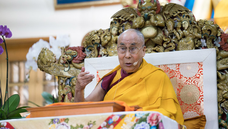 His Holiness the Dalai Lama addressing the audience on the third day of his teachings at the Tsuglagkhang in Dharamsala, HP, India on October 5, 2017. Photo by Tenzin Choejor