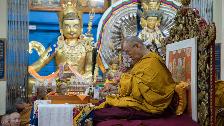 His Holiness the Dalai Lama performing preparatory rituals for the White Tara Long Life Empowerment before the start of the final day of his teachings at the Tsuglagkhang in Dharamsala, HP, India on October 6, 2017. Photo by Tenzin Choejor