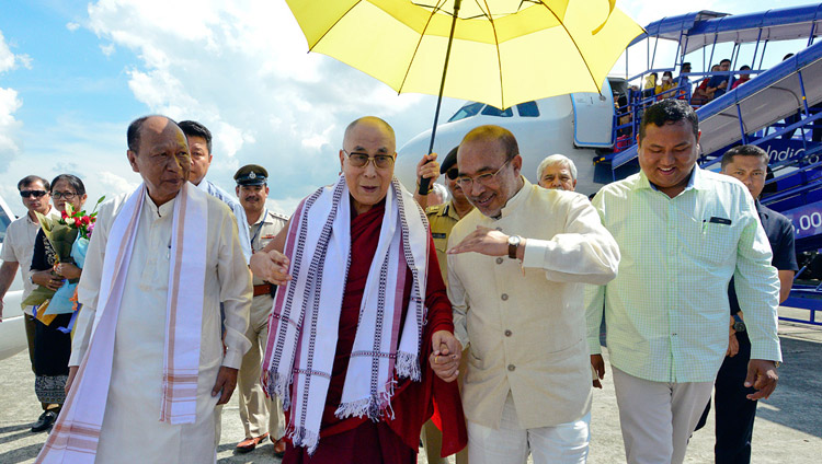 Speaker of the Manipur Assembly Yumnam Khemchand Singh and Manipur Chief Minister N. Biren Singh accompanying His Holiness the Dalai Lama on his arrival at the airport in Imphal, Manipur India on October 17, 2017. Photo by Lobsang Tsering