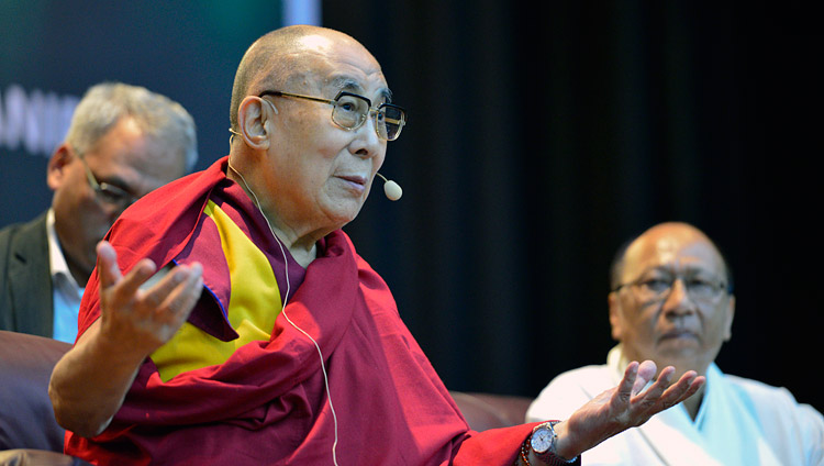 His Holiness the Dalai Lama speaking at the City Convention Center hall in Imphal, Manipur, India on October 18, 2017. Photo by Lobsang Tsering