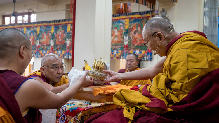 Namgyal Monastery Abbot Thomtog Rinpoche making traditional offerings at the start of His Holiness the Dalai Lama's teachings at the Main Tibetan Temple in Dharamsala, HP, India on November 3, 2017. Photo by Tenzin Choejor