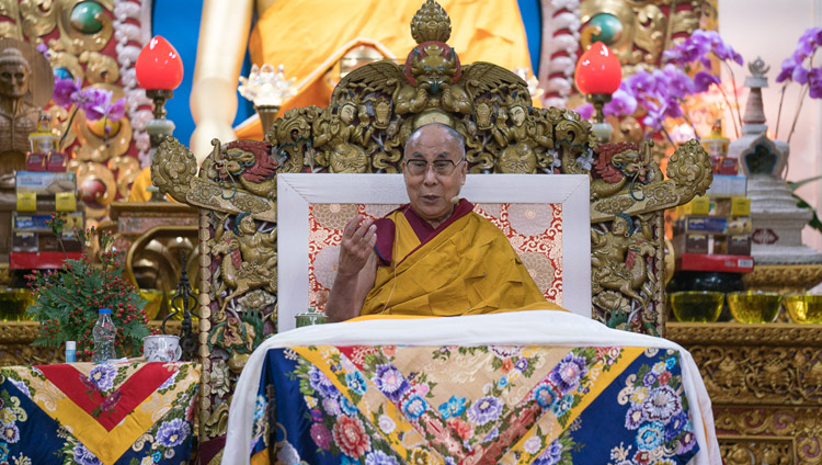 His Holiness the Dalai Lama during his teaching at the Main Tibetan Temple in Dharamsala, HP, India on November 3, 2017. Photo by Tenzin Choejor