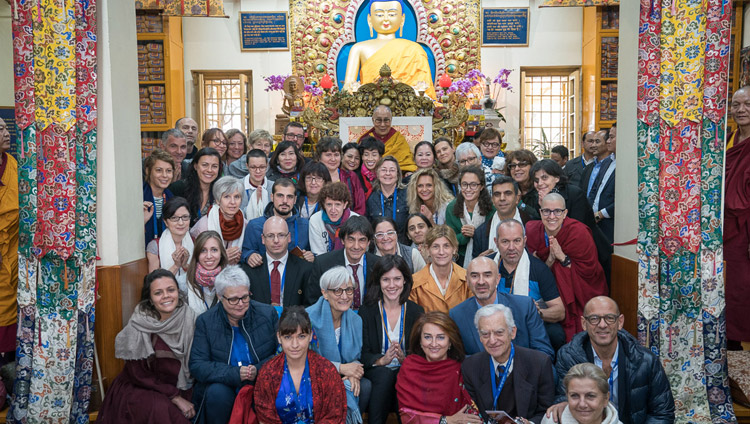 His Holiness the Dalai Lama with a group from Italy during group photos with supporters of the new Namgyal Monastery school at the conclusion of his teaching at the Main Tibetan Temple in Dharamsala, HP, India on November 3, 2017. Photo by Tenzin Choejor