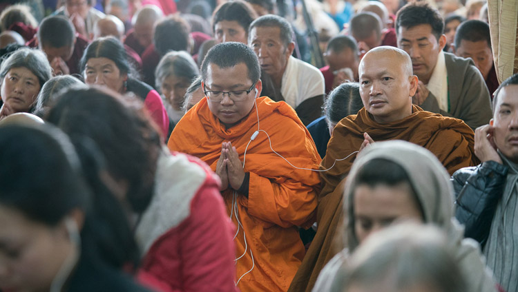 Some of the more than 4,000 people attending His Holiness the Dalai Lama's teaching at the Main Tibetan Temple in Dharamsala, HP, India on November 3, 2017. Photo by Tenzin Choejor