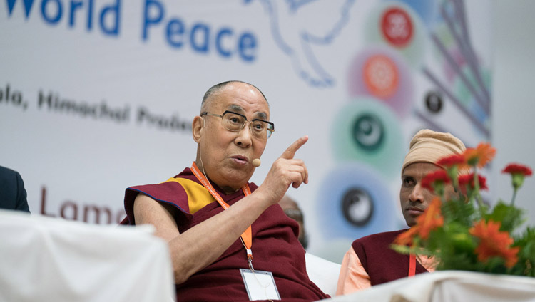 His Holiness the Dalai Lama addressing the audience at the conference on Science, Spirituality & World Peace at the Government Degree College in Dharamsala, HP, India on November 4, 2017. Photo by Tenzin Choejor