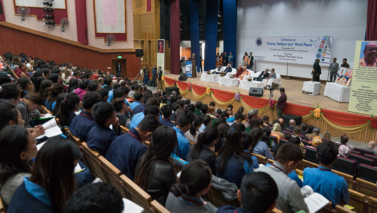 A view of the Government Degree College Auditorium during the inaugural session of the conference on Science, Spirituality & World Peace in Dharamsala, HP, India on November 4, 2017. Photo by Tenzin Choejor