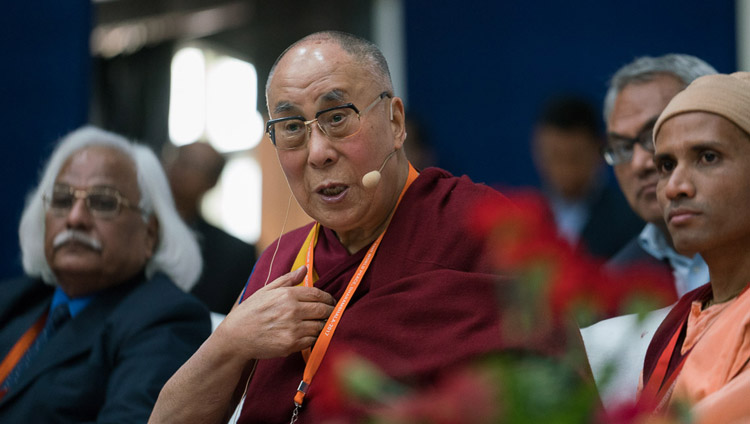 His Holiness the Dalai Lama addressing Tibetan students in the audience during the conference on Science, Spirituality & World Peace in Dharamsala, HP, India on November 4, 2017. Photo by Tenzin Choejor