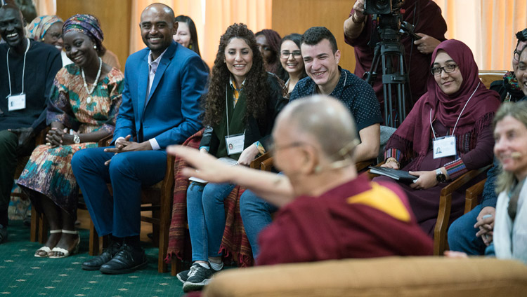 His Holiness the Dalai Lama greeting USIP youth leaders at the start of their dialogue at his residence in Dharamsala, HP, India on November 6, 2017. Photo by Tenzin Choejor