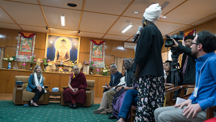 USIP Youth leaders introducing themselves to His Holiness the Dalai Lama at the start of their dialogue at his residence in Dharamsala, HP, India on November 6, 2017. Photo by Tenzin Choejor