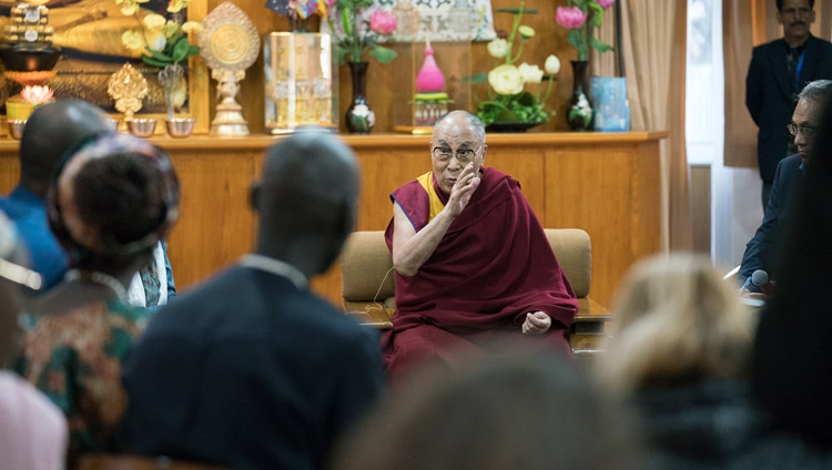 His Holiness the Dalai Lama delivering his opening remarks at the dialogue with USIP youth leaders at his residence in Dharamsala, HP, India on November 6, 2017. Photo by Tenzin Choejor