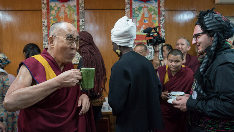 His Holiness the Dalai Lama talking with USIP youth leaders during a tea break on the first day of their two day dialogue at his residence in Dharamsala, HP, India on November 6, 2017. Photo by Tenzin Choejor