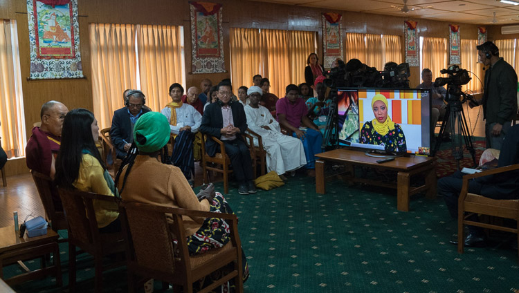 His Holiness the Dalai Lama USIP Youth Leaders Aluel Atem from South Sudan and Paula Porras from Colombia participating online in an episode of 'The Stream', a TV show on Al Jazeera English at his residence in Dharamsala, HP, India on November 7, 2017. Photo by Tenzin Choejor