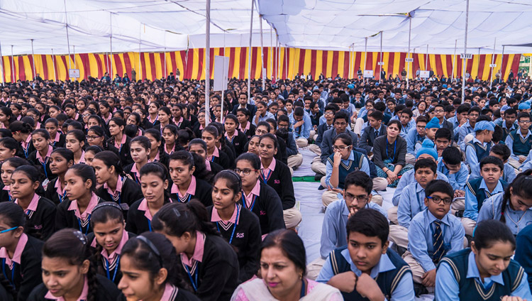 Students listening to His Holiness the Dalai Lama speaking at Salwan Public School in Delhi, India on November 18, 2017. Photo by Tenzin Choejor