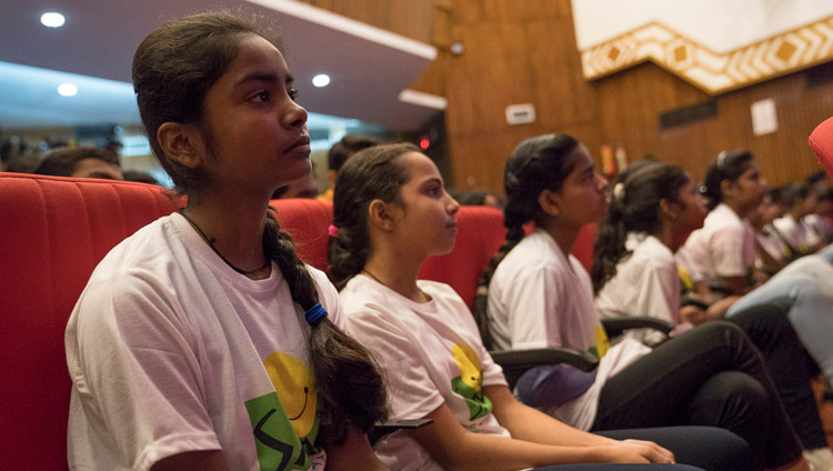 Students in the audience listening to His Holiness the Dalai Lama speaking at the NCUI Auditorium in New Delhi, India on November 19, 2017. Photo by Tenzin Choejor